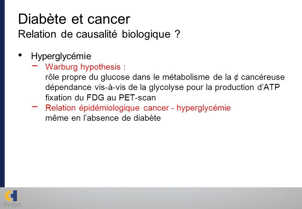 Diabète et cancer Relation de causalité biologique ? Hyperglycémie Warburg hypothesis : rôle propre du glucose dans le métabolisme de la ¢ cancéreuse