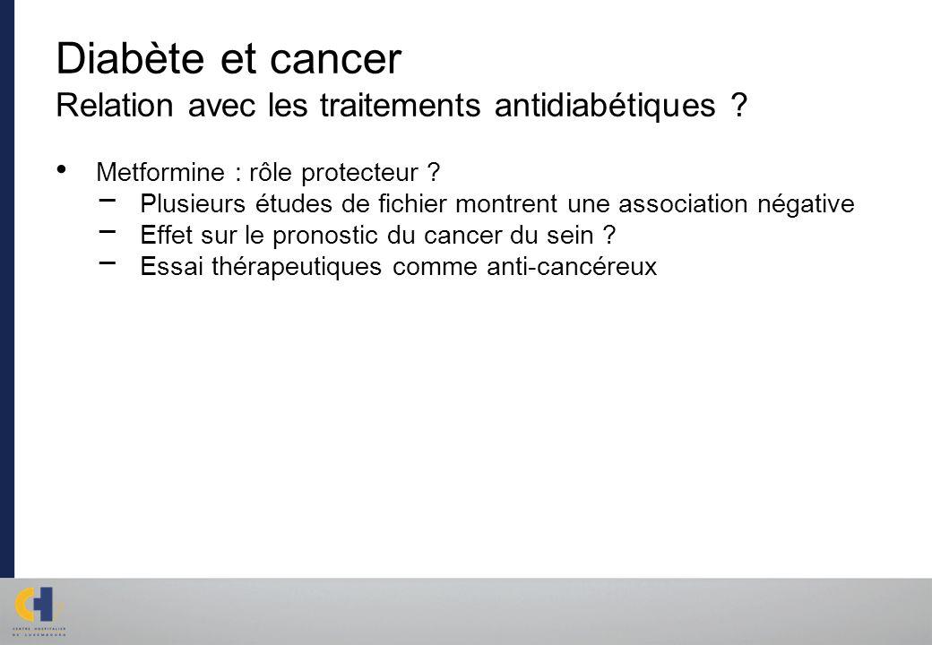 Diabète et cancer Relation avec les traitements antidiabétiques ? Metformine : rôle protecteur ? Plusieurs études de fichier montrent une association