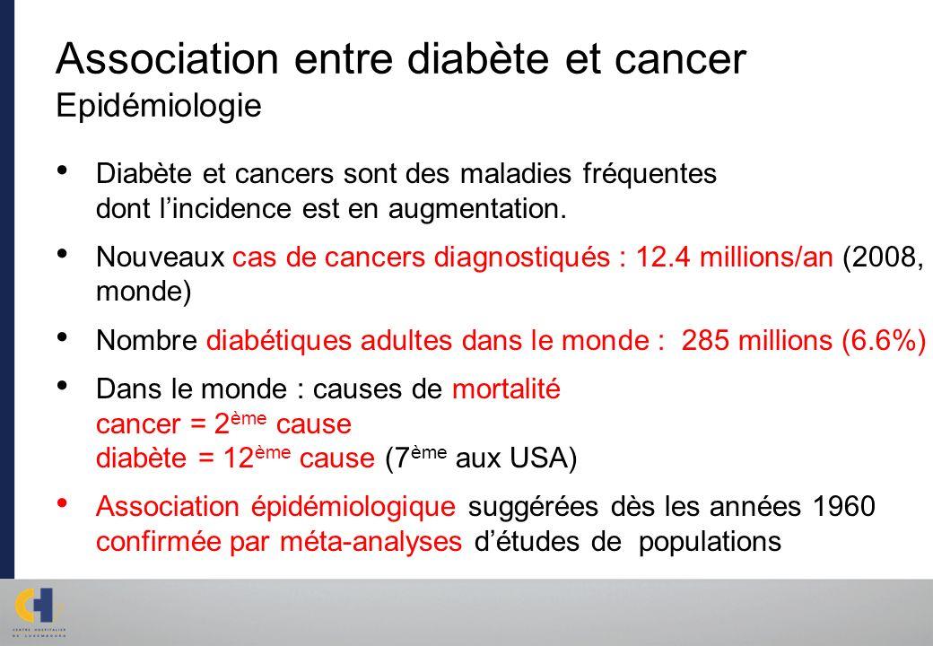 Association entre diabète et cancer Epidémiologie Diabète et cancers sont des maladies fréquentes dont lincidence est en augmentation. Nouveaux cas de