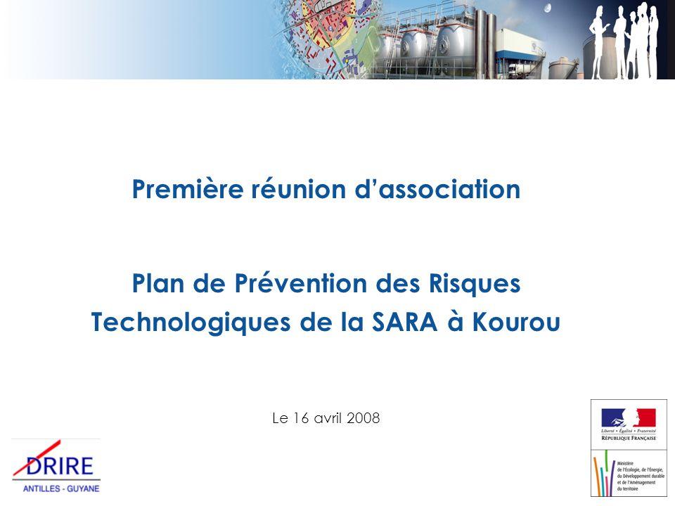 Première réunion dassociation Plan de Prévention des Risques Technologiques de la SARA à Kourou Le 16 avril 2008