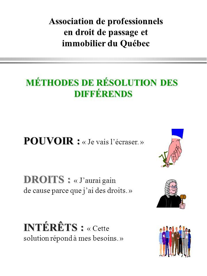 Association de professionnels en droit de passage et immobilier du Québec MÉTHODES DE RÉSOLUTION DES MÉTHODES DE RÉSOLUTION DES DIFFÉRENDS DIFFÉRENDS