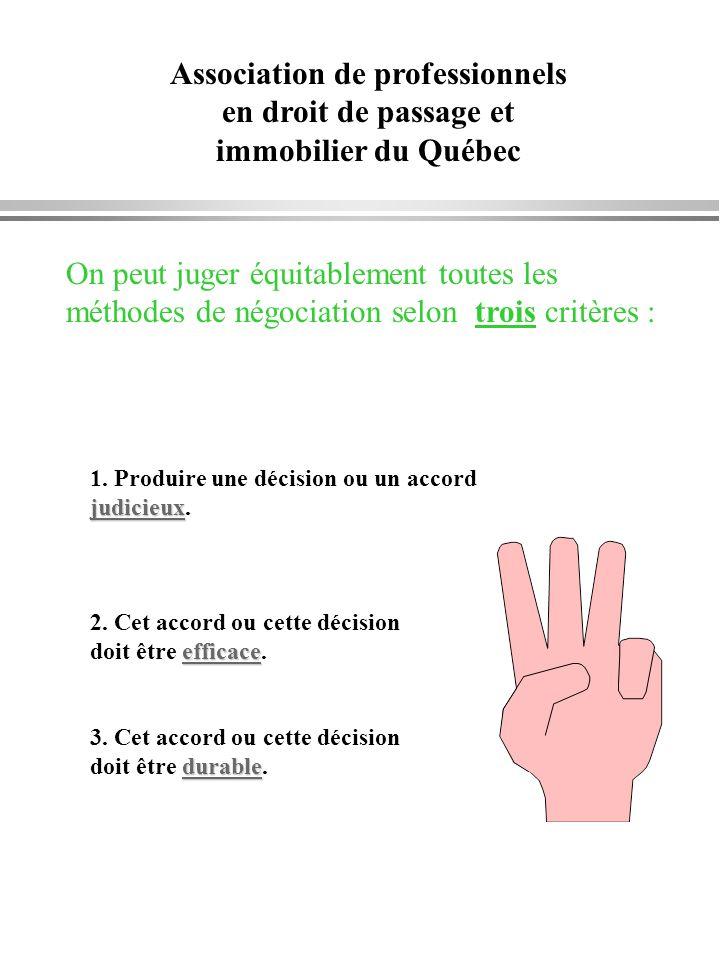 Association de professionnels en droit de passage et immobilier du Québec On peut juger équitablement toutes les méthodes de négociation selon trois c