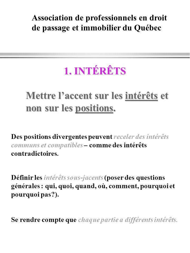 1. INTÉRÊTS Mettre laccent sur les intérêts et non sur les positions. Des positions divergentes peuvent receler des intérêts communs et compatibles –