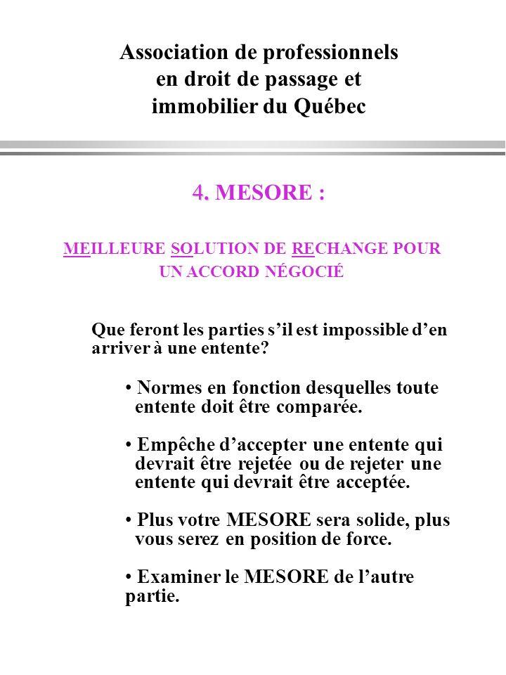 Association de professionnels en droit de passage et immobilier du Québec 4. 4. MESORE : MEILLEURE SOLUTION DE RECHANGE POUR UN ACCORD NÉGOCIÉ Que fer