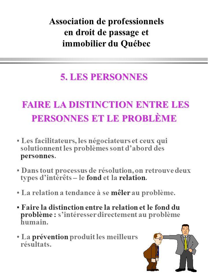Association de professionnels en droit de passage et immobilier du Québec 5. LES PERSONNES 5. LES PERSONNES FAIRE LA DISTINCTION ENTRE LES FAIRE LA DI
