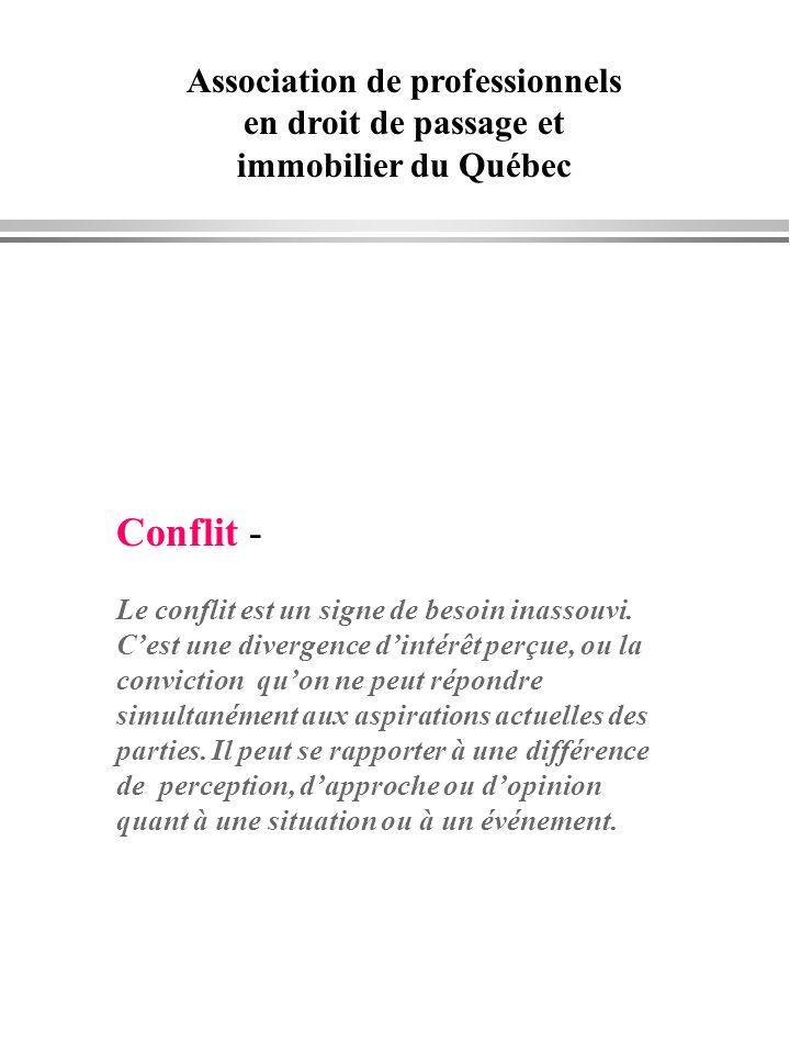Association de professionnels en droit de passage et immobilier du Québec Conflit - Le conflit est un signe de besoin inassouvi. Cest une divergence d