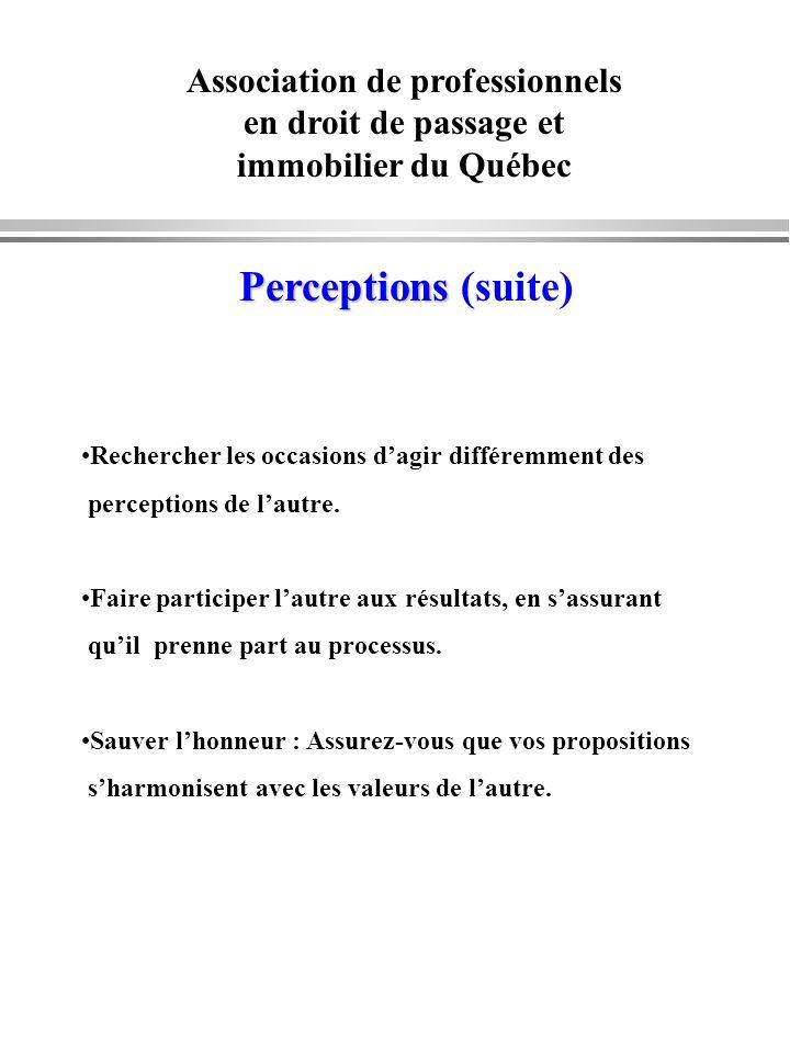 Association de professionnels en droit de passage et immobilier du Québec Perceptions Perceptions (suite) Rechercher les occasions dagir différemment