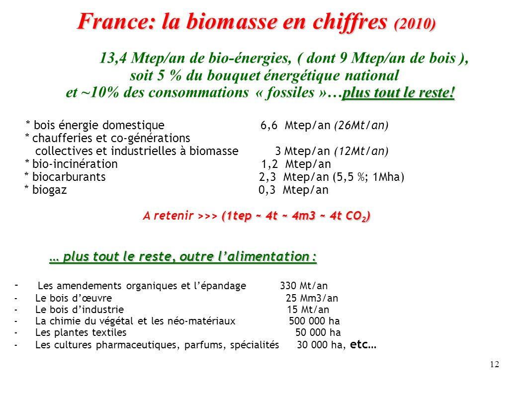 12 France: la biomasse en chiffres (2010) France: la biomasse en chiffres (2010) 13,4 Mtep/an de bio-énergies, ( dont 9 Mtep/an de bois ), soit 5 % du