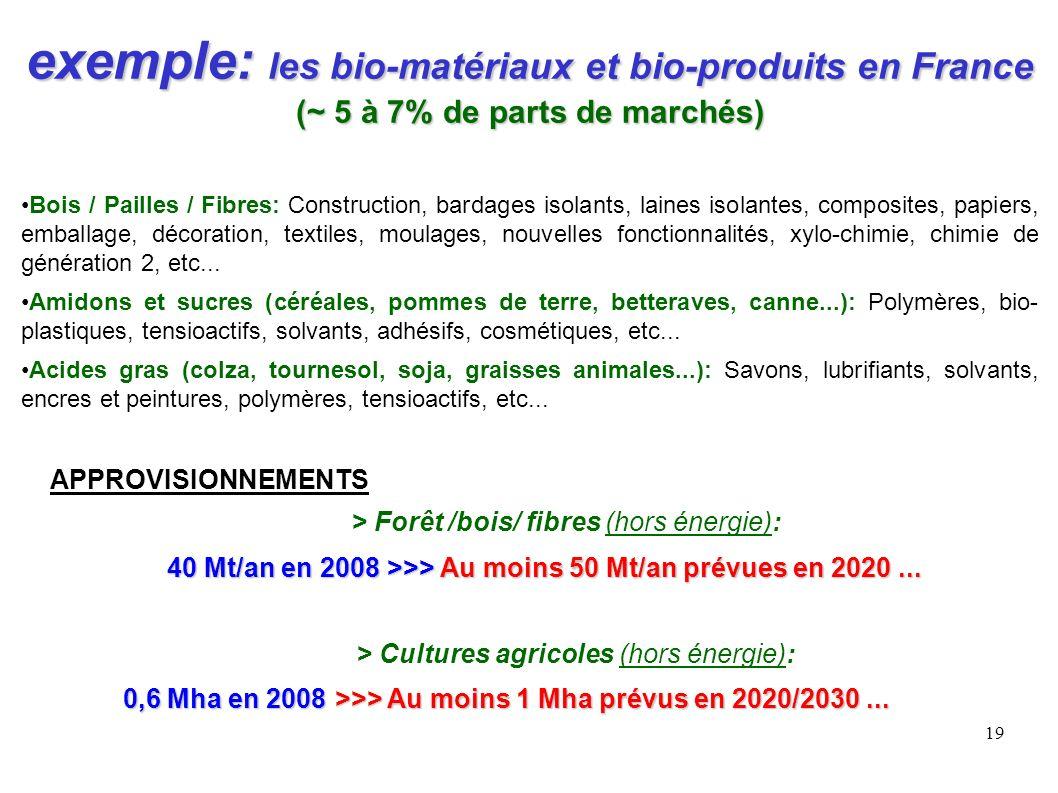 19 exemple: les bio-matériaux et bio-produits en France (~ 5 à 7% de parts de marchés) Bois / Pailles / Fibres: Construction, bardages isolants, laine