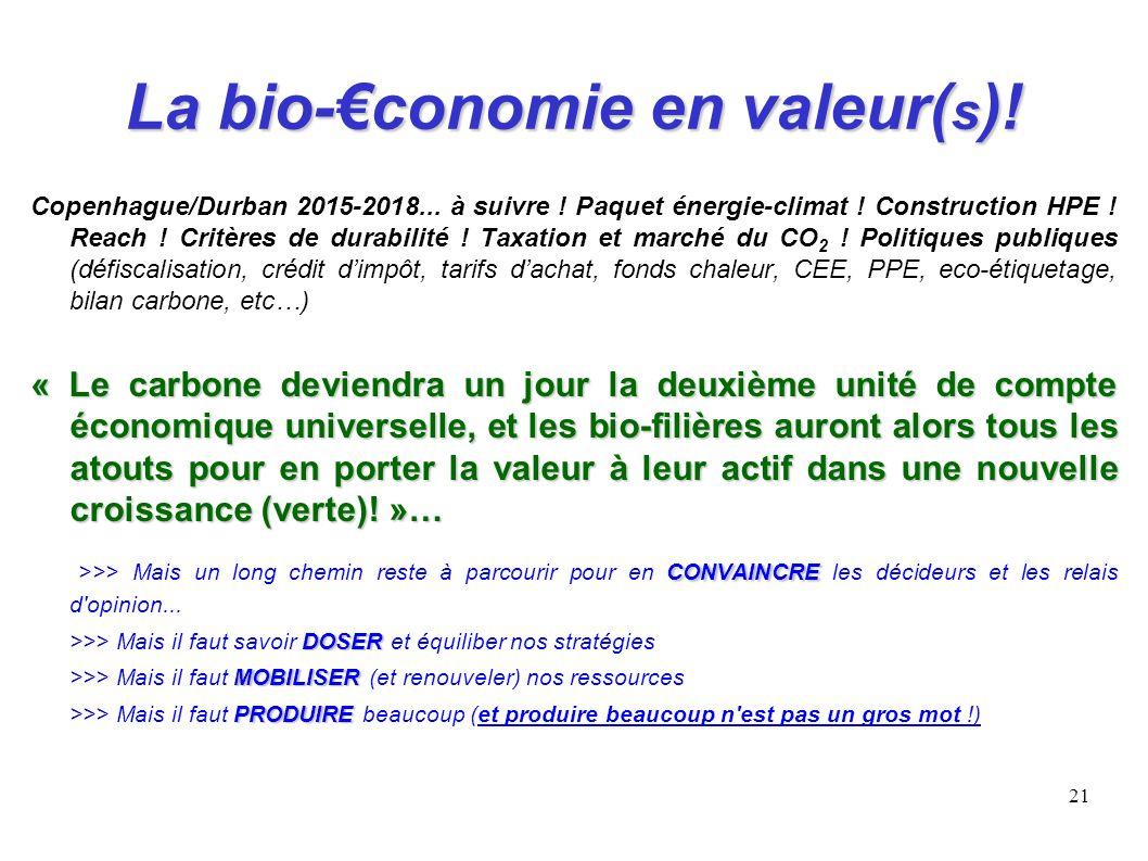 21 La bio-conomie en valeur( s )! Copenhague/Durban 2015-2018... à suivre ! Paquet énergie-climat ! Construction HPE ! Reach ! Critères de durabilité