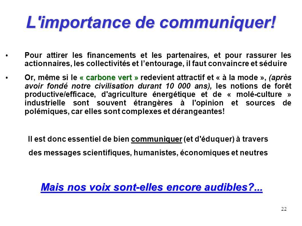 22 L'importance de communiquer! Pour attirer les financements et les partenaires, et pour rassurer les actionnaires, les collectivités et lentourage,