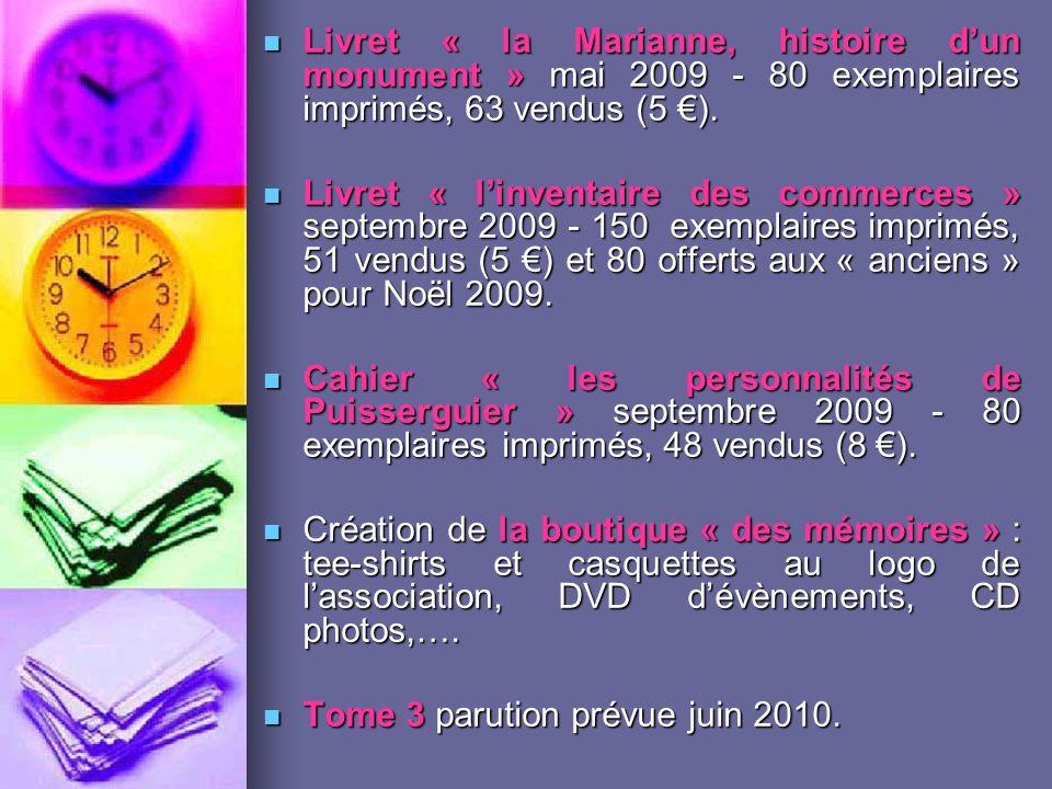 Livret « la Marianne, histoire dun monument » mai 2009 - 80 exemplaires imprimés, 63 vendus (5 ).