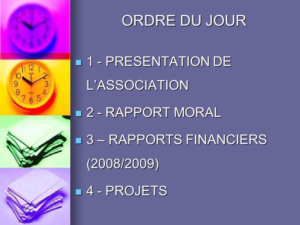 ORDRE DU JOUR 1 - PRESENTATION DE LASSOCIATION 1 - PRESENTATION DE LASSOCIATION 2 - RAPPORT MORAL 2 - RAPPORT MORAL 3 – RAPPORTS FINANCIERS (2008/2009) 3 – RAPPORTS FINANCIERS (2008/2009) 4 - PROJETS 4 - PROJETS