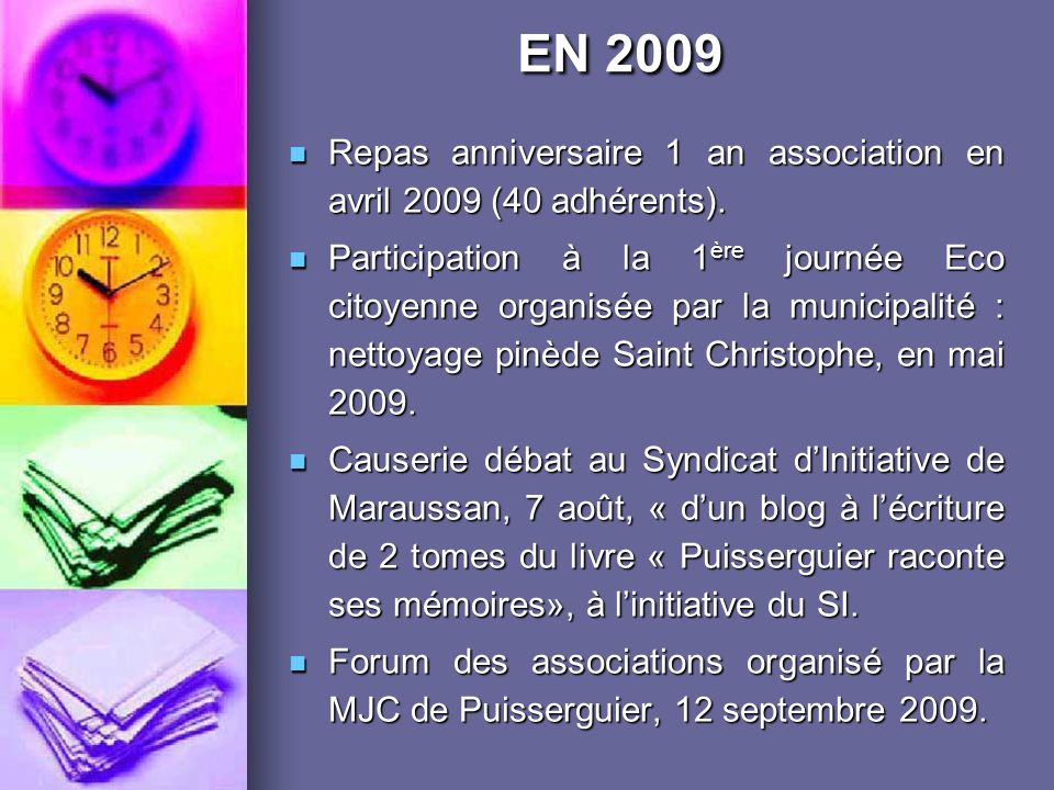 Repas anniversaire 1 an association en avril 2009 (40 adhérents).