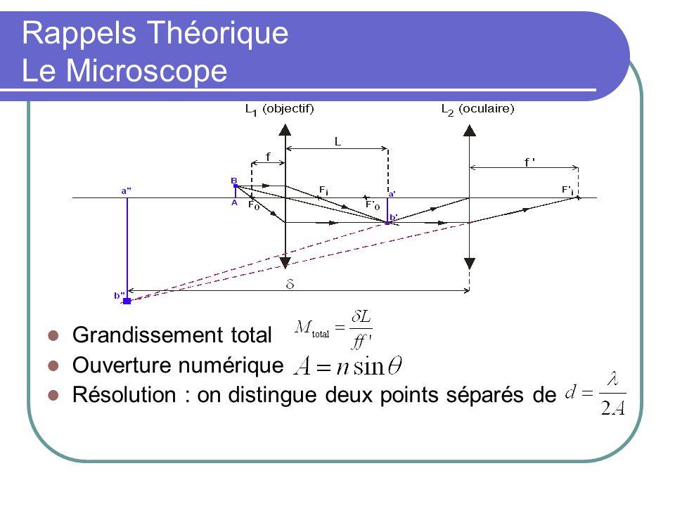 Grandissement total Ouverture numérique Résolution : on distingue deux points séparés de Rappels Théorique Le Microscope