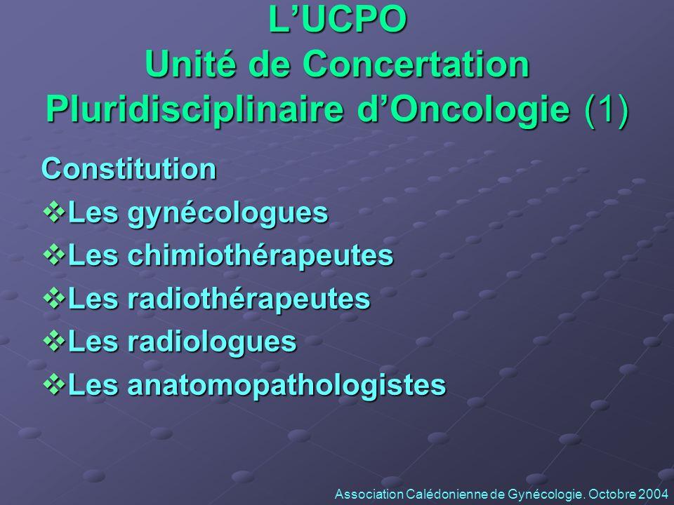 LUCPO Unité de Concertation Pluridisciplinaire dOncologie (1) Constitution Les gynécologues Les gynécologues Les chimiothérapeutes Les chimiothérapeut