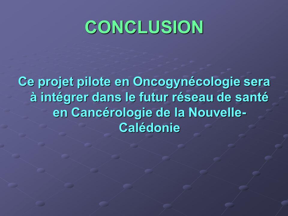 CONCLUSION Ce projet pilote en Oncogynécologie sera à intégrer dans le futur réseau de santé en Cancérologie de la Nouvelle- Calédonie