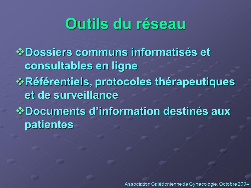 Outils du réseau Dossiers communs informatisés et consultables en ligne Dossiers communs informatisés et consultables en ligne Référentiels, protocole