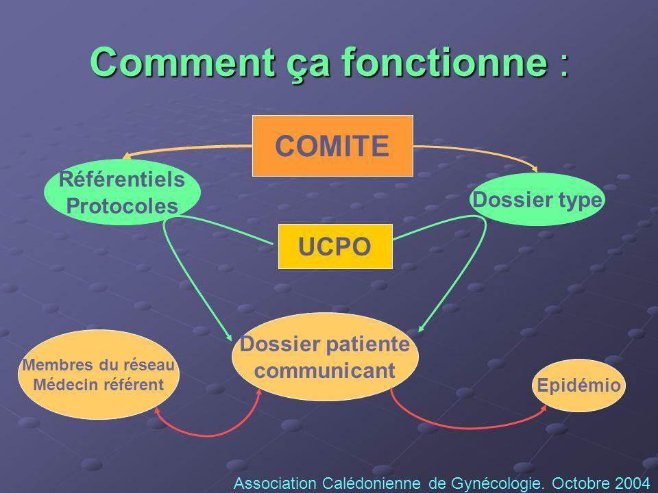 Comment ça fonctionne : Référentiels Protocoles Dossier type COMITE UCPO Dossier patiente communicant Epidémio Membres du réseau Médecin référent Asso