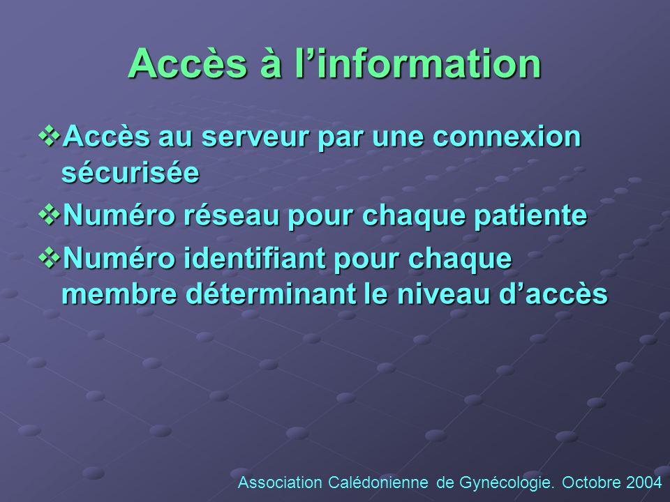 Accès à linformation Accès au serveur par une connexion sécurisée Accès au serveur par une connexion sécurisée Numéro réseau pour chaque patiente Numé