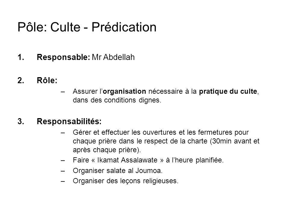 Pôle: Culte - Prédication 1.Responsable: Mr Abdellah 2.Rôle: –Assurer lorganisation nécessaire à la pratique du culte, dans des conditions dignes.