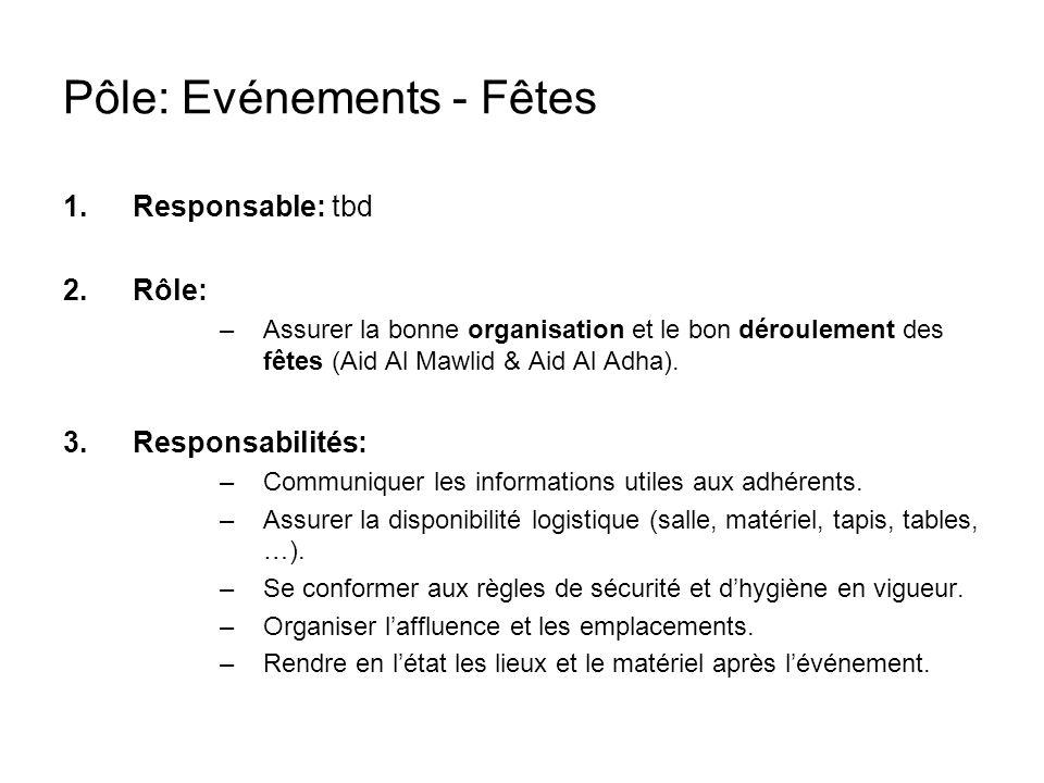Pôle: Evénements - Fêtes 1.Responsable: tbd 2.Rôle: –Assurer la bonne organisation et le bon déroulement des fêtes (Aid Al Mawlid & Aid Al Adha).
