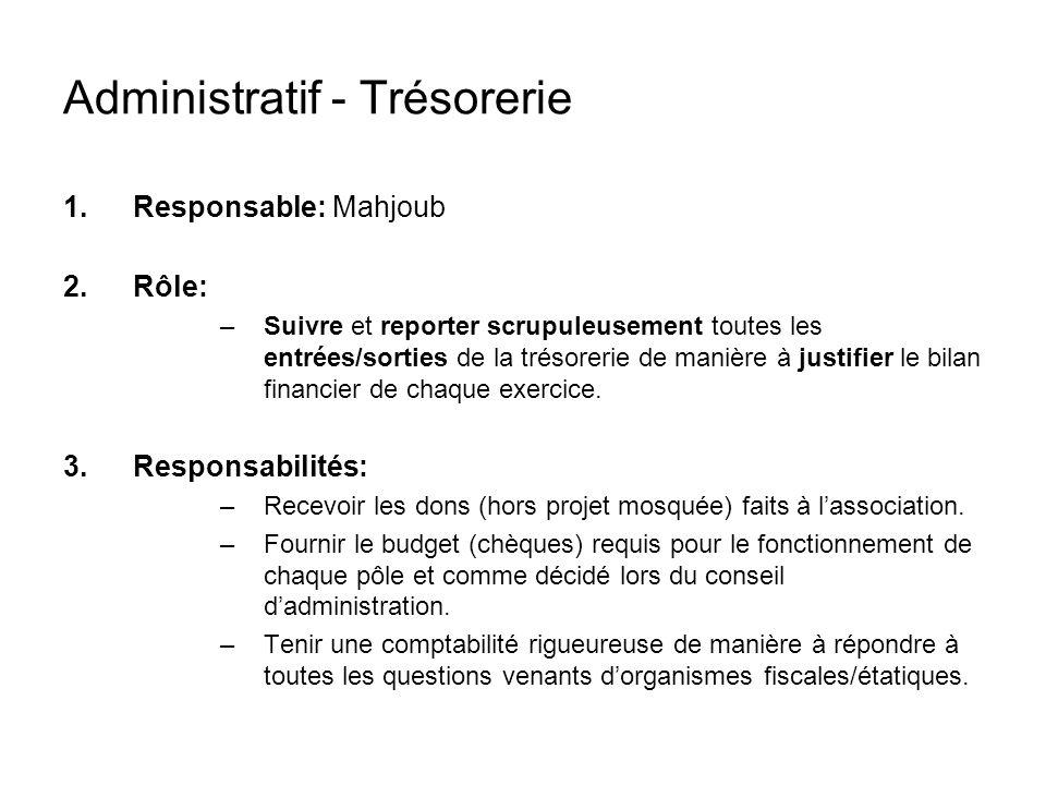 Administratif - Trésorerie 1.Responsable: Mahjoub 2.Rôle: –Suivre et reporter scrupuleusement toutes les entrées/sorties de la trésorerie de manière à justifier le bilan financier de chaque exercice.
