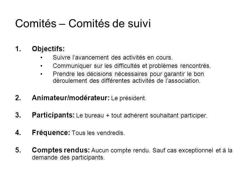 Comités – Comités de suivi 1.Objectifs: Suivre lavancement des activités en cours.