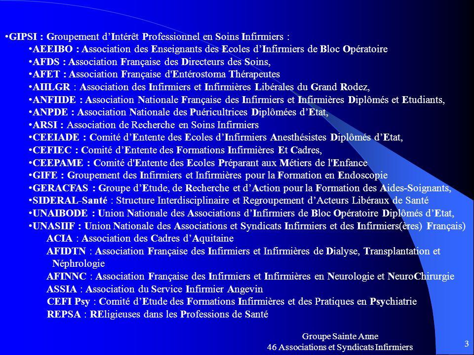 Groupe Sainte Anne 46 Associations et Syndicats Infirmiers 3 GIPSI : Groupement dIntérêt Professionnel en Soins Infirmiers : AEEIBO : Association des