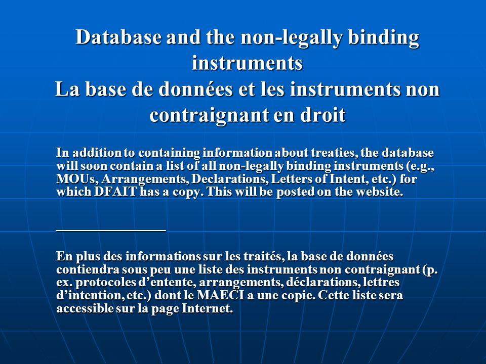 Publication of treaties Publication des traités The Treaty Section at DFAIT has the mandate to publish treaties.