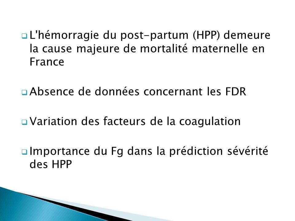L'hémorragie du post-partum (HPP) demeure la cause majeure de mortalité maternelle en France Absence de données concernant les FDR Variation des facte