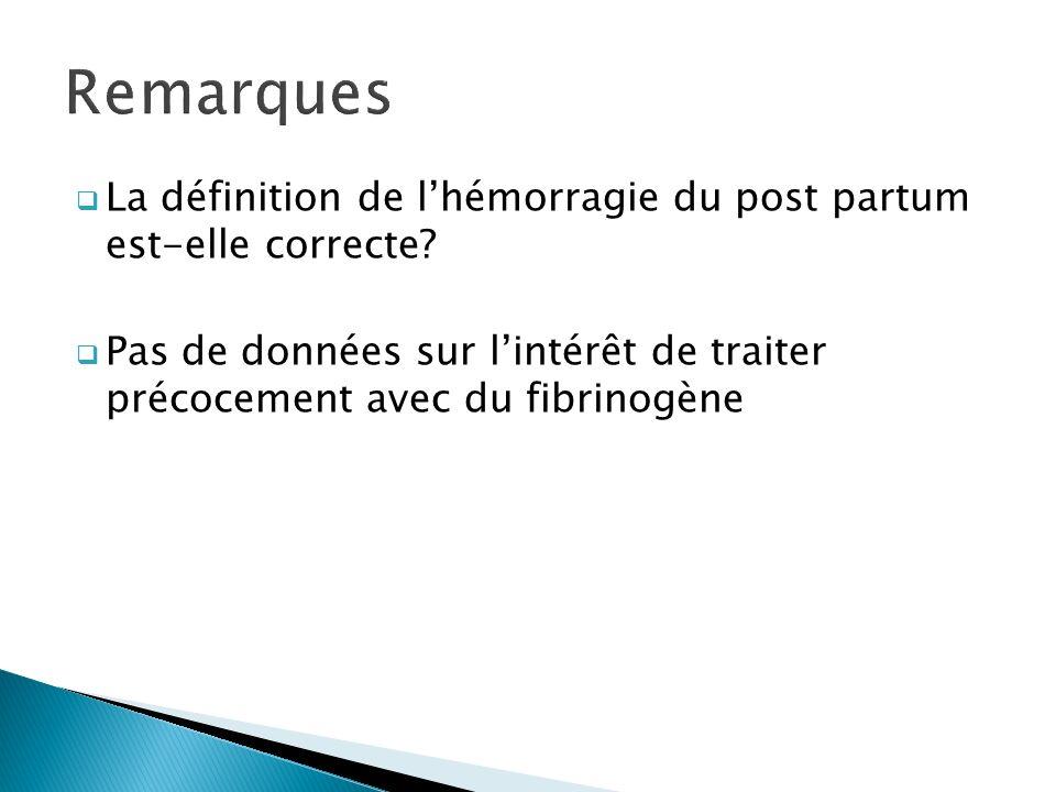 La définition de lhémorragie du post partum est-elle correcte? Pas de données sur lintérêt de traiter précocement avec du fibrinogène