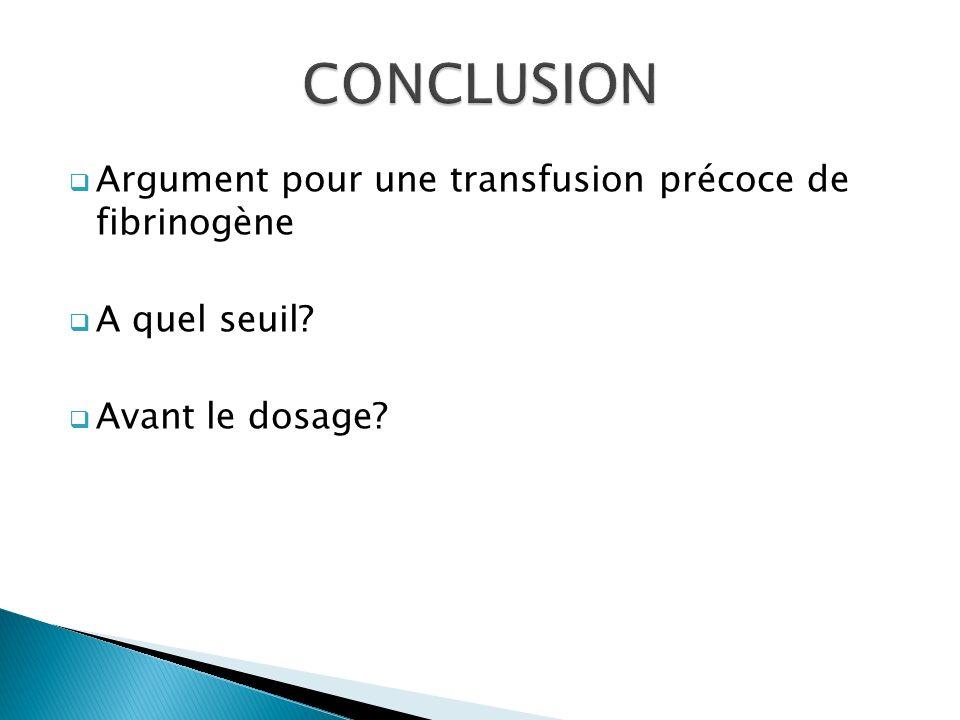 Argument pour une transfusion précoce de fibrinogène A quel seuil? Avant le dosage?