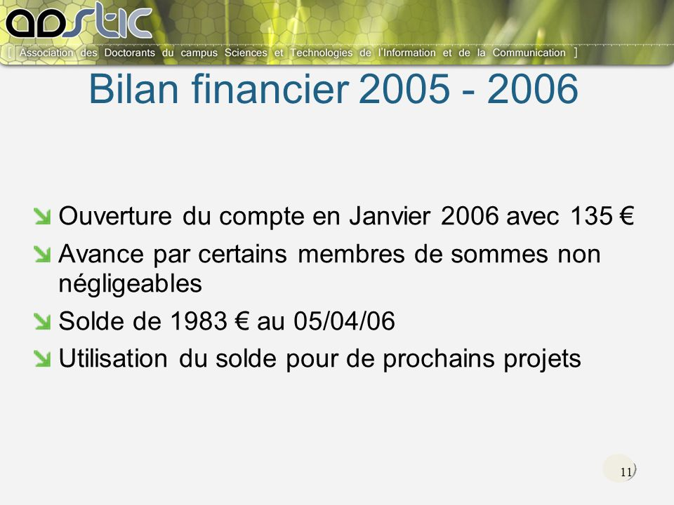 11 Ouverture du compte en Janvier 2006 avec 135 Avance par certains membres de sommes non négligeables Solde de 1983 au 05/04/06 Utilisation du solde pour de prochains projets Bilan financier 2005 - 2006