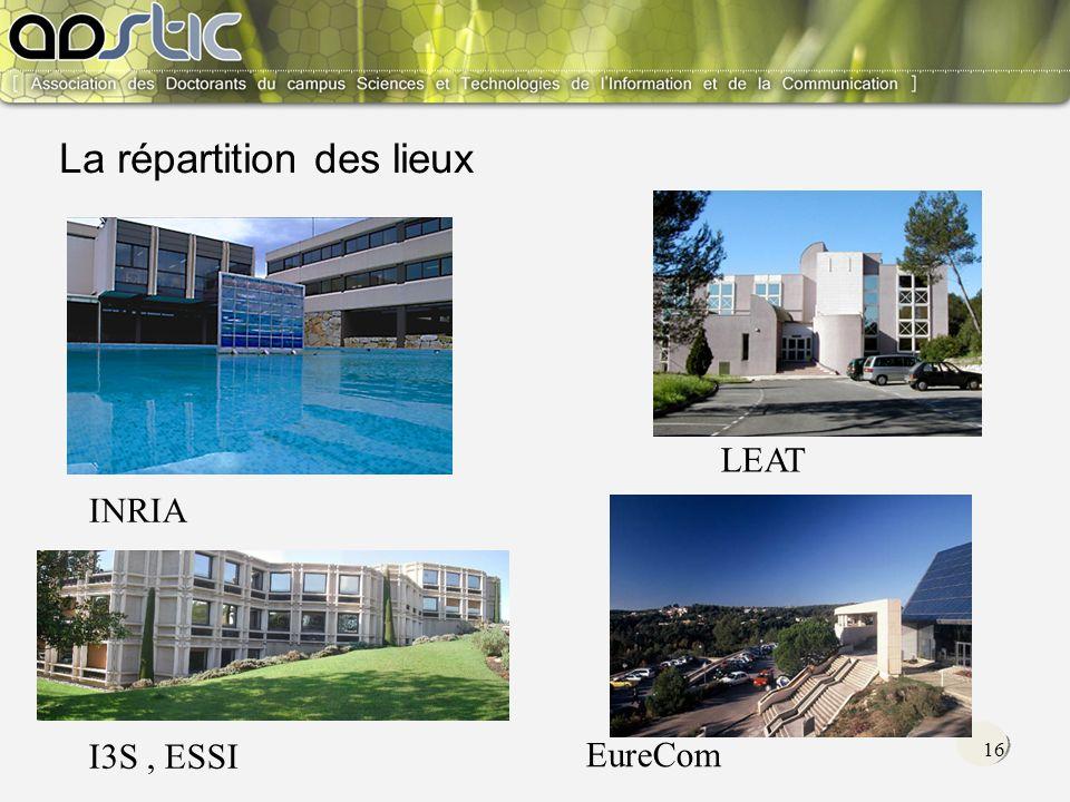 16 I3S, ESSI INRIA LEAT EureCom La répartition des lieux