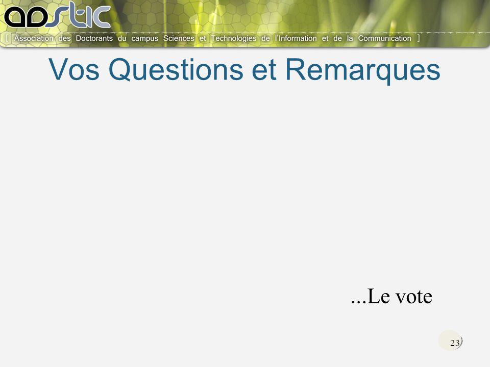 23 Vos Questions et Remarques...Le vote