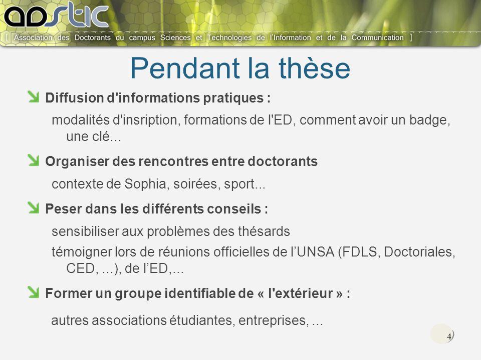 4 Pendant la thèse Diffusion d informations pratiques : modalités d insription, formations de l ED, comment avoir un badge, une clé...