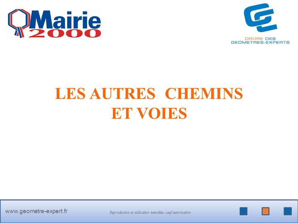 PLUS DINFOS SUR > www.geometre-expert.fr Reproduction et utilisation interdites sauf autorisation LES AUTRES CHEMINS ET VOIES