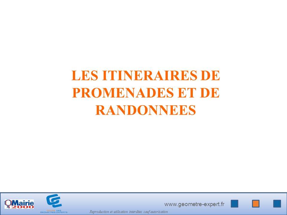 www.geometre-expert.fr Reproduction et utilisation interdites sauf autorisation LES ITINERAIRES DE PROMENADES ET DE RANDONNEES
