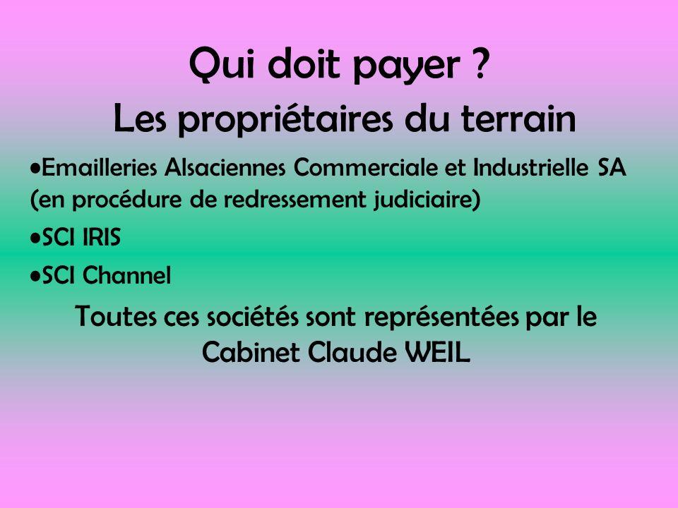 Qui doit payer ? Les propriétaires du terrain Emailleries Alsaciennes Commerciale et Industrielle SA (en procédure de redressement judiciaire) SCI IRI