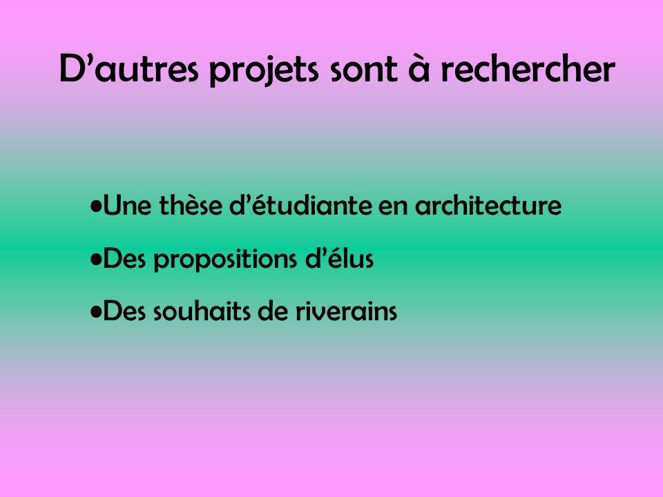 Dautres projets sont à rechercher Une thèse détudiante en architecture Des propositions délus Des souhaits de riverains