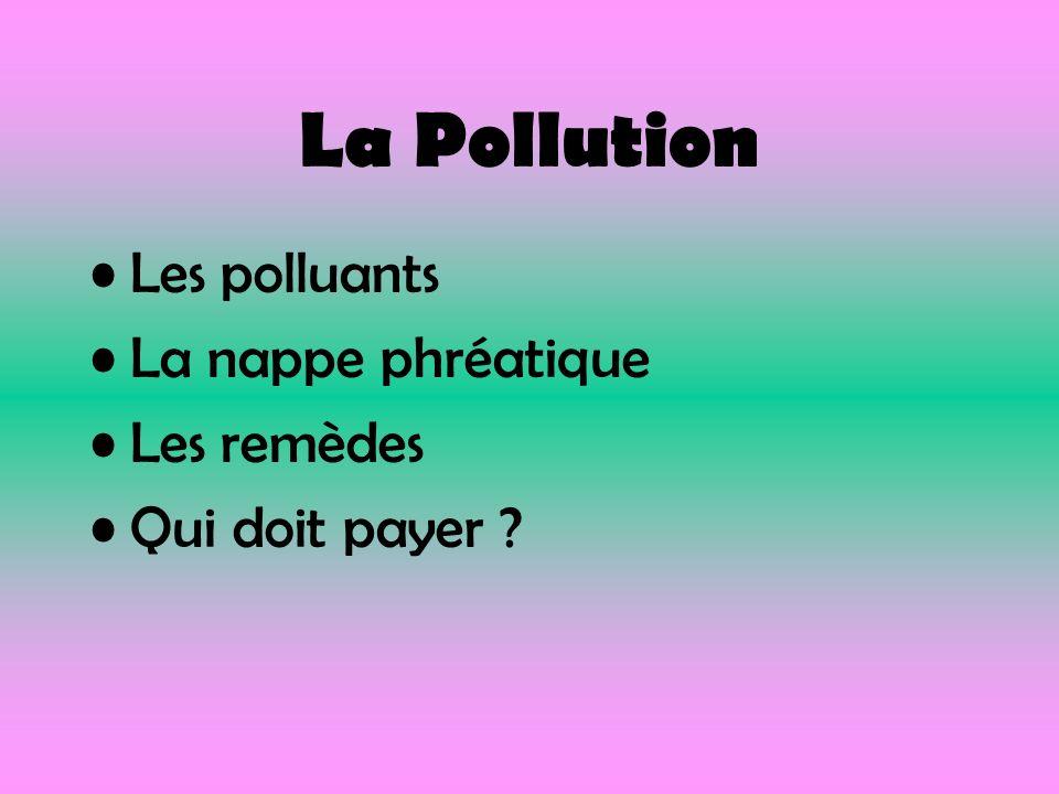 La Pollution Les polluants La nappe phréatique Les remèdes Qui doit payer ?