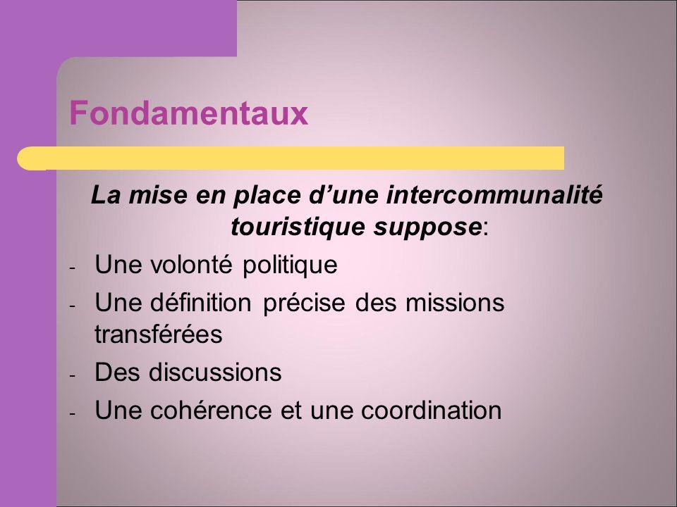 Fondamentaux La mise en place dune intercommunalité touristique suppose: - Une volonté politique - Une définition précise des missions transférées - Des discussions - Une cohérence et une coordination