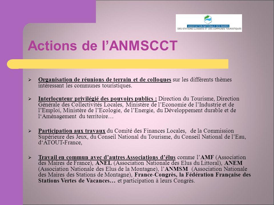 Actions de lANMSCCT Organisation de réunions de terrain et de colloques sur les différents thèmes intéressant les communes touristiques.