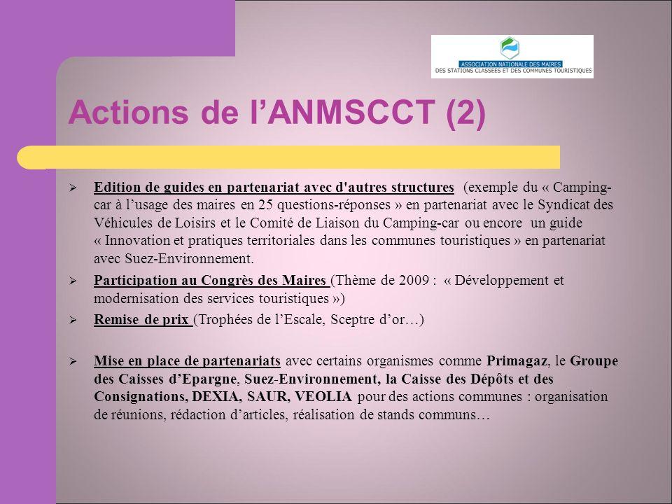Actions de lANMSCCT (2) Edition de guides en partenariat avec d autres structures (exemple du « Camping- car à lusage des maires en 25 questions-réponses » en partenariat avec le Syndicat des Véhicules de Loisirs et le Comité de Liaison du Camping-car ou encore un guide « Innovation et pratiques territoriales dans les communes touristiques » en partenariat avec Suez-Environnement.