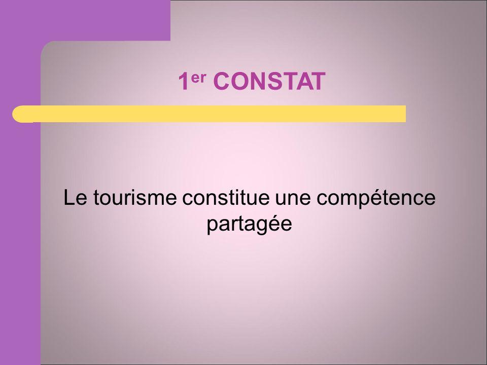 1 er CONSTAT Le tourisme constitue une compétence partagée