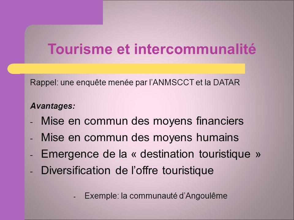 Tourisme et intercommunalité Rappel: une enquête menée par lANMSCCT et la DATAR Avantages: - Mise en commun des moyens financiers - Mise en commun des moyens humains - Emergence de la « destination touristique » - Diversification de loffre touristique - Exemple: la communauté dAngoulême