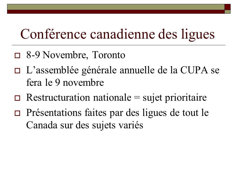 Conférence canadienne des ligues 8-9 Novembre, Toronto Lassemblée générale annuelle de la CUPA se fera le 9 novembre Restructuration nationale = sujet prioritaire Présentations faites par des ligues de tout le Canada sur des sujets variés
