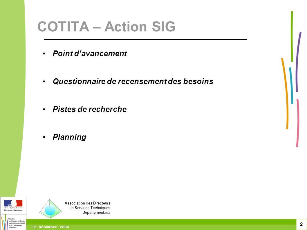 2 18 décembre 2008 Point davancement Questionnaire de recensement des besoins Pistes de recherche Planning COTITA – Action SIG Association des Directe