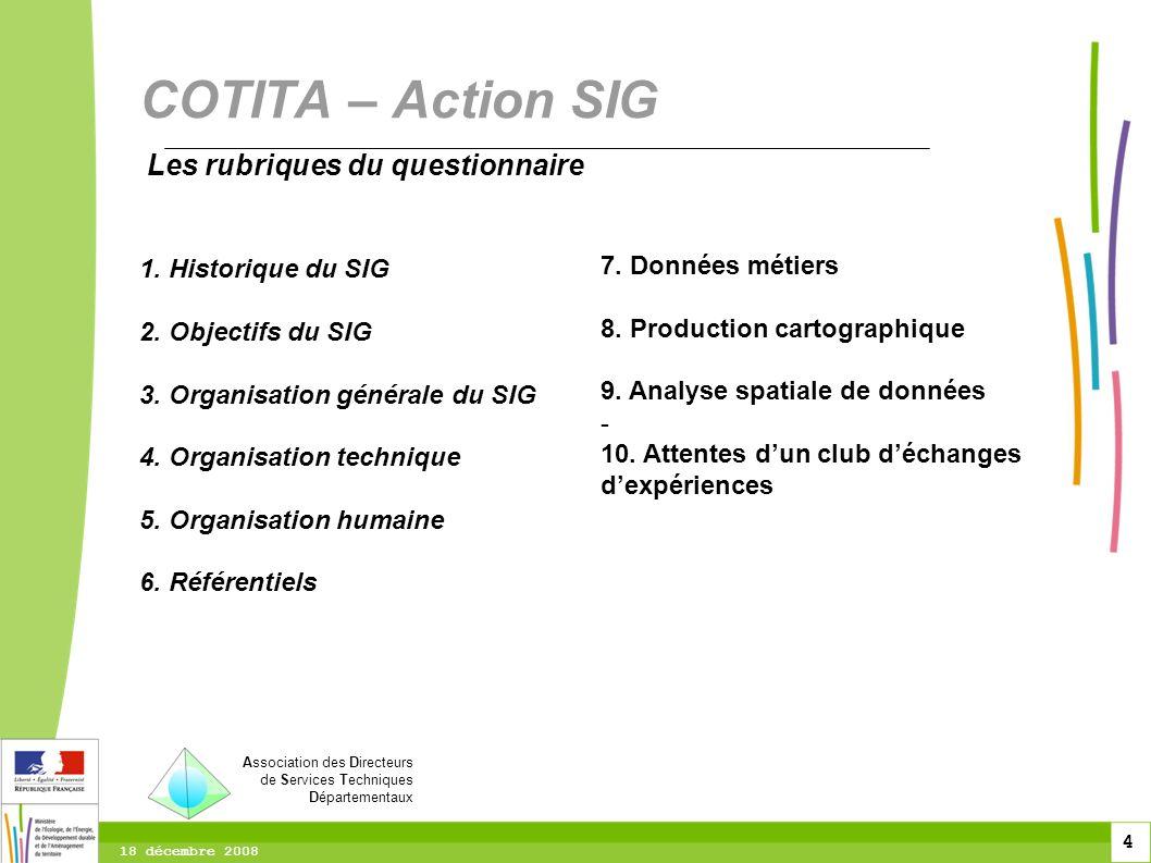 4 4 4 18 décembre 2008 Les rubriques du questionnaire 1. Historique du SIG 2. Objectifs du SIG 3. Organisation générale du SIG 4. Organisation techniq